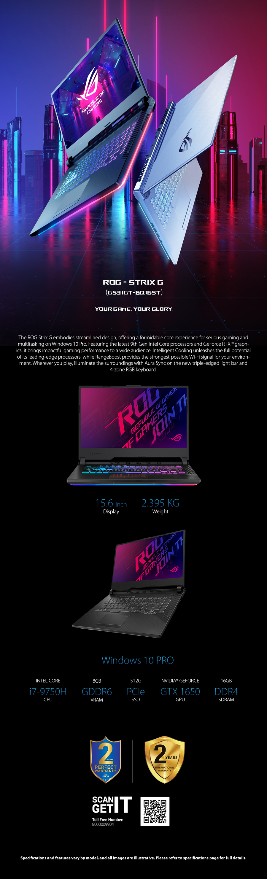 ASUS ROG strix Gaming Laptop G531GT-BQ165T Intel Ci7-9750H